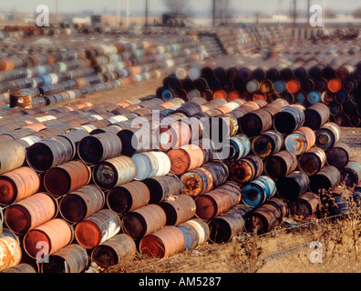 huge stacks of toxic waste drums - Stock Photo