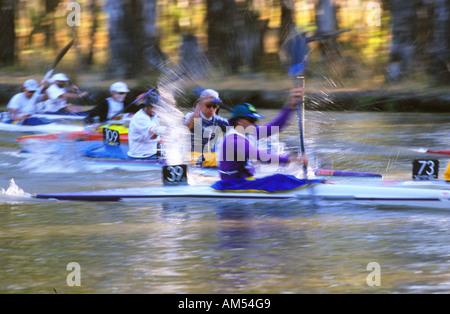 Competitors in the Murray River Marathon Australia - Stock Photo