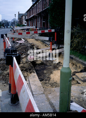 Installation of cable services in a residential area in the mid 1990s; Jesmond, Newcastle upon Tyne, Tyne and Wear, - Stock Photo