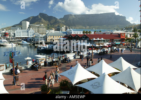 Promenade with tourists, Quay 4, Waterfront, Cape Town, South Africa - Stock Photo