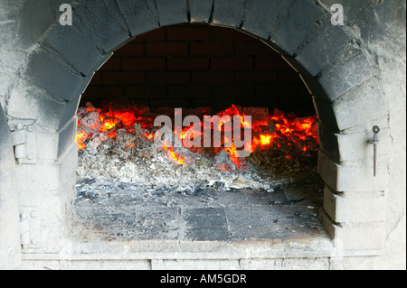 Glow in the baking oven, Bavarian Forest, Bavaria, Germany - Stock Photo