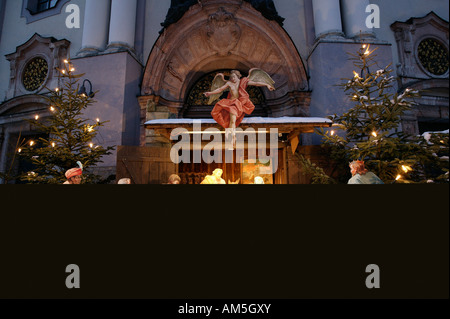 Crib in front of St Anne Basilica, Altoetting, Upper Bavaria, Germany - Stock Photo