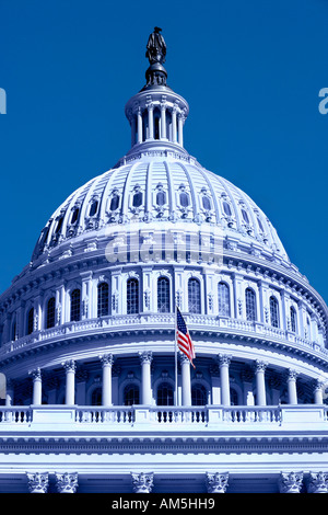Blue colored US Capitol building in Washington DC In America the color blue is a symbol for the liberal Democratic - Stock Photo