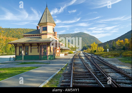 Crawford Depot along the scenic train ride to Mount Washington New Hampshire - Stock Photo