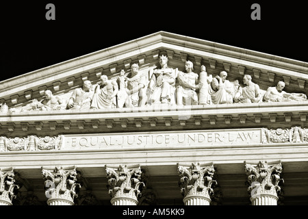 Main frieze of the US Supreme Court Building. On the architrave the famous Equal Justice Under Law. Black/white; - Stock Photo