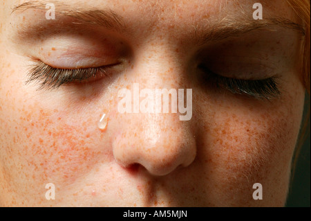 Eyes with a teardrop - Stock Photo