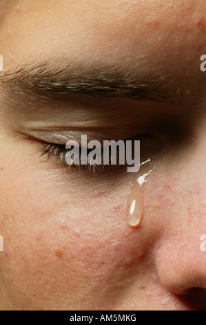 Eye with a teardrop - Stock Photo