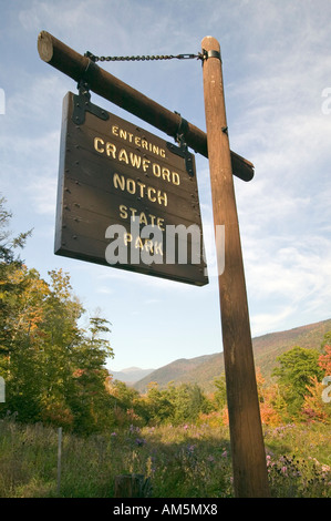Sign reads Entering Crawford Notch State Park New Hampshire - Stock Photo