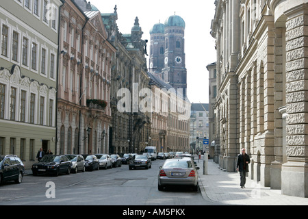 View of the Church of Our Lady from Kardinal Faulhaber street in Munich,Germany, - Stock Photo