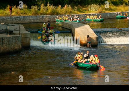 Rafting near Krumau, Cesky Krumlov on the Moldau, Bohemia, Czech Republic - Stock Photo