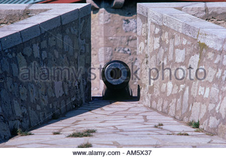 Cannon at Old Fort Erie in the town of Fort Erie Ontario Canada - Stock Photo