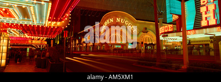 Panoramic view of Golden Nugget Casino and neon sign in Las Vegas NV - Stock Photo