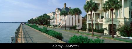 Atlantic Ocean with historic homes of Charleston SC - Stock Photo