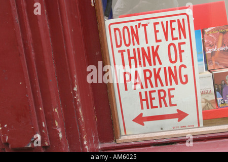 Dont even think of parking here sign in Amsterdam Holland - Stock Photo