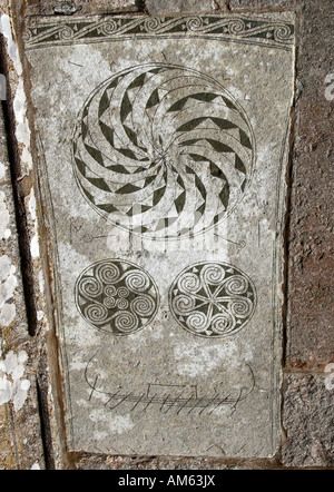 Detail of a Viking picture stone in Bro, Gotland, Sweden - Stock Photo
