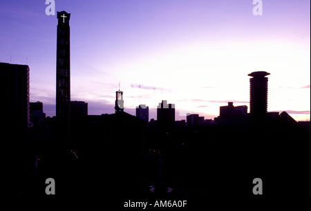 Nairobi city skyline seen from the Intercontinental Hotel at dawn - Stock Photo