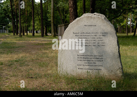 Memorial stone for the victims of the 20th of July in concentration camp sachsenhausen - Stock Photo