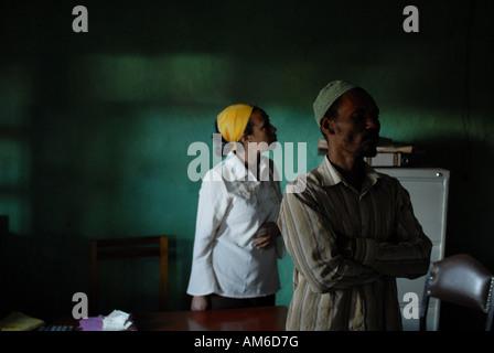 Ethiopian members of Haro Coffee co-operative, Ethiopia in the co-operative office - Stock Photo
