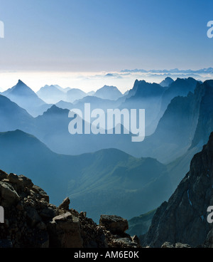 View from the Birkkarspitze, backlight, Karwendel, Tyrol, Austria - Stock Photo