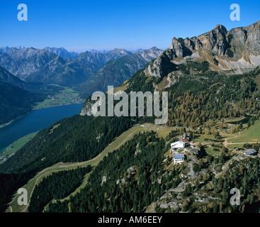 Achensee, behind Karwendel, Erfurter Huette, Rofangebirge, Tyrol, Austria - Stock Photo