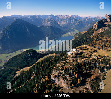 View on Seefeld, in the middle Mieminger Kette with Hohe Munde, on the right Wettersteingebirge, Tyrol, Austria - Stock Photo