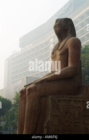 Pharaoh statue outside the Museum of Egyptian Antiquities, Cairo, Egypt - Stock Photo