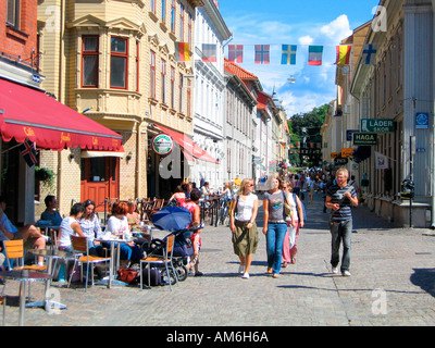The street Haga Nygata in the charming Haga district in Gothenburg, Sweden, is packed with cafes and shops. - Stock Photo