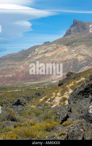 The volcanic landscape of Payunia Provincial Park in Mendoza Province - Stock Photo