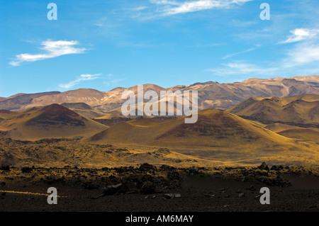 The volcanic landscape of Payunia Provincial Park in Malargue, Mendoza Province, Argentina - Stock Photo