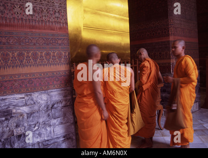 Monks in Wat Po Temple, Bangkok, Thailand 2007 - Stock Photo