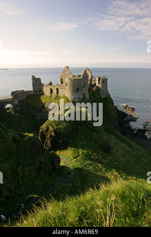 Famous tourist attraction Dunluce Castle North Antrim coastline near Ballycastle Northern Ireland United Kingdom - Stock Photo