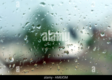 Shooting thru an upstairs window in a dry home, out into the soaking rain outside in mid-August. Summer rains are - Stock Photo