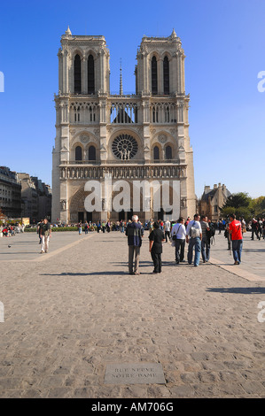 West front of Notre Dame Cathedral, Paris - Stock Photo