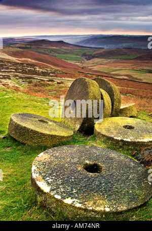 Abandoned Millstones Below Stanage Edge at Sunrise, Near Hathersage, Peak District National Park, Derbyshire, England, - Stock Photo