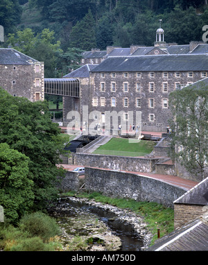 A restored water wheel at the New Lanark Mills, Strathclyde, Scotland. - Stock Photo