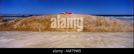 Granite rocks on beach south of Cape Banks,,  near Carpenter Rocks,  Limestone Coast, SE South Australia,  horizontal, - Stock Photo