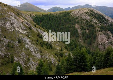 Eponymous mountain range of the Nocken in the national park Nockberge, Alps, Carinthia, Austria - Stock Photo