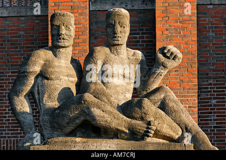 Two stony men, sculptures at the concert hall Duesseldorf, NRW, Germany - Stock Photo