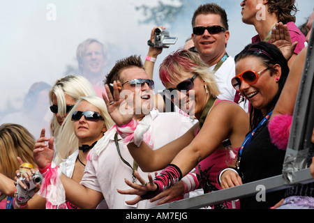 Dancing people on a truck, Loveparade 2007, Essen, NRW, Germany - Stock Photo