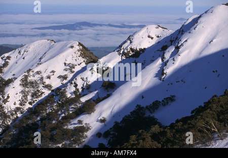Ski tracks on Moonlight Ridge Mt Buller Southern Alps NE Victoria Australia horizontal  - Stock Photo