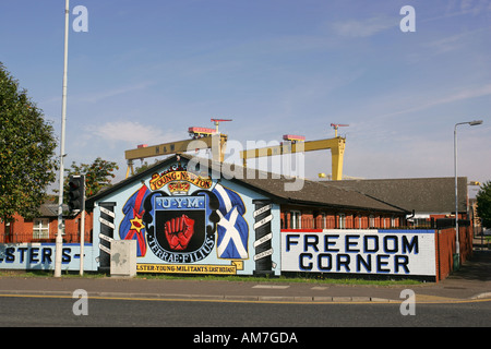 Bright wall painted Ulster Defence Association murals on Newtownards Road with famous yellow Harland and Wolff cranes - Stock Photo