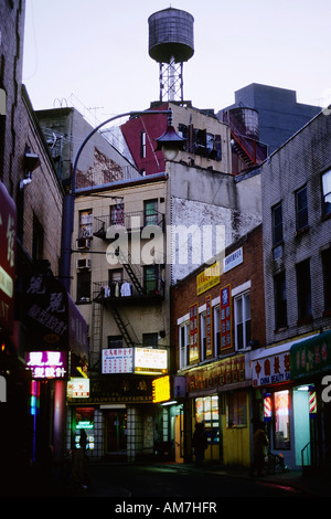 Gloomy street at Chinatown, Lower East Side, New York City, USA - Stock Photo