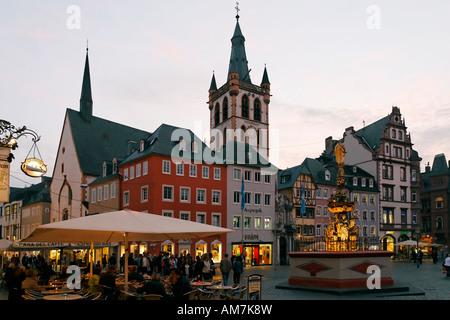 Main market place with St. Gangolf church, Trier, Rhineland-Palatinate, Germany - Stock Photo