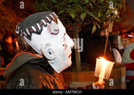 Litlle boy with Frankenstein mask, spectator at a Halloween event for children, theatre museum Duesseldorf, NRW, - Stock Photo