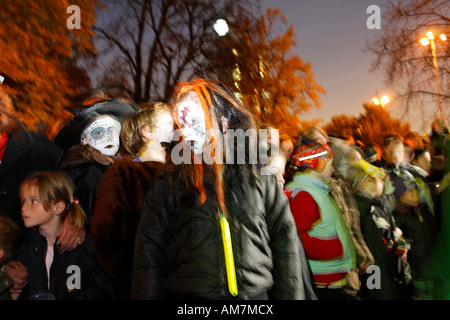 Little girls wearing a creepy makeup, Halloween event, theatere museum Duesseldorf, NRW, Germany - Stock Photo