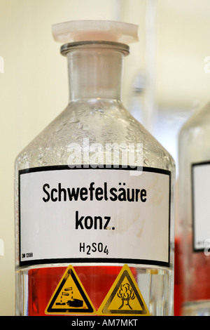 Bottle with sulfuric acid, laboratory at the disused ironworks Henrichshuette, industrial museum, Hattingen, NRW, - Stock Photo
