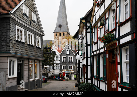 Half-timbering houses at the old part of town, Hattingen, NRW, Germany - Stock Photo