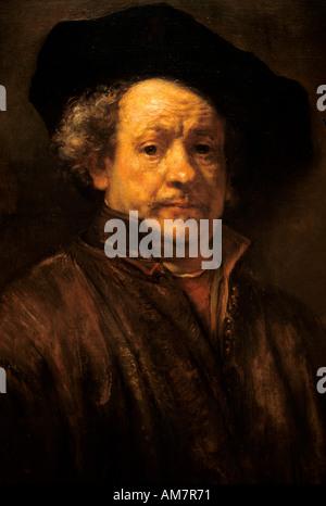 Self portrait by Rembrandt Harmenz van Rijn Netherlands Dutch Painter - Stock Photo