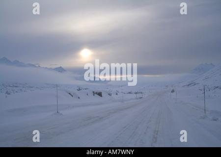 Mountain pass in winter, White Pass, Yukon Territory, Canada - Stock Photo