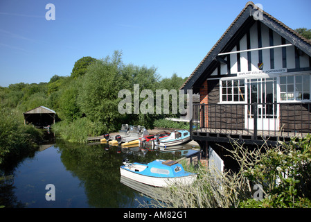 Shiplake College Boathouse on the river Thames in summer - Stock Photo